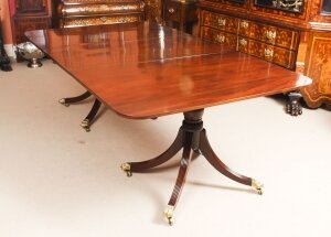 Antique 7ft Flame Mahogany Twin Pillar Regency Dining Table 19th C