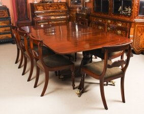 Antique Twin Pillar Regency Dining Table C1820 19th C & 8 Vintage chairs