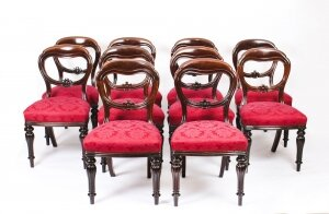 Antique Set 10 Victorian Mahogany Balloon Back Dining Chairs 19th Century