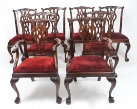 Vintage Set of 8 Mahogany Chippendale Dining Chairs 20th Century
