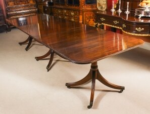 Vintage 12 ft Regency Revival 3 Pillar Dining Table William Tillman 20th C