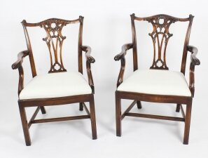Vintage Pair of Mahogany Chippendale Revival Arm Chairs Mid 20th Century