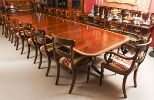 Vintage Arthur Brett Three Pillar Mahogany Dining Table and 14 Chairs 20th C