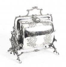 Antique English Silver Plated Folding Sweets Biscuit Box 19th Century