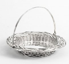 Antique Victorian Sterling Silver Fruit Bread Basket London 1858 19th C