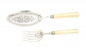 Antique English Silver Plated & Ivory Fish Servers Circa 1850