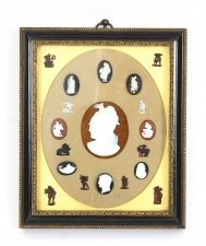 Antique Framed set Grand Tour Gem Cameo Intaglios 19th Century