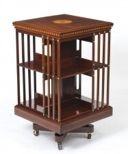 Antique Edwardian Revolving Bookcase By Maple & Co