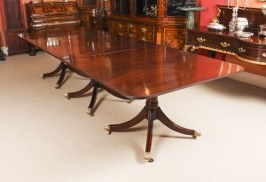 Antique 11 ft Regency Revival Mahogany 3 Pillar Dining Table C1900