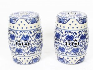 Pair Japanese Blue & White Ceramic Garden Seats 20th Century