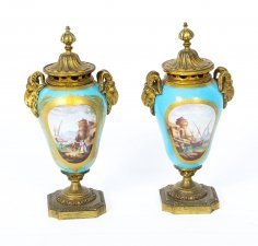 Antique Pair Bleu Celeste Sevres Porcelain Gilt Bronze Lidded Urns 19th C