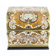 Antique Gilt Brass Inlaid Fall Front Stationery Casket