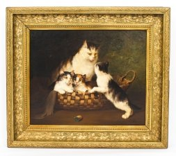 Antique French Oil on Canvas Painting of Kittens L. Cabaniez 19th Century