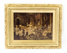 Antique Victorian Crystoleum Picture 18th C French Scene Painting 19th C