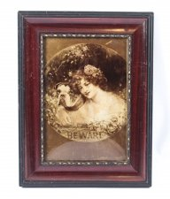 Antique Victorian Crystoleum Picture Painting Of a Girl & Pug, 1901