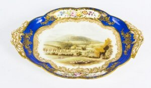 Antique Royal Worcester Porcelain Landscape Dish 19th Century