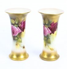 Antique Pair Royal Worcester Porcelain Trumpet Vases 1916 in date