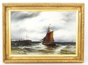 Antique Oil on Canvas Seascape Painting Gustave De Bréanski 19th Century