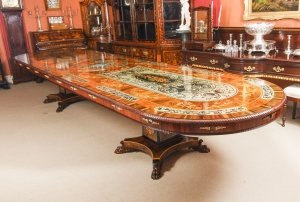 Bespoke 17ft Marquetry Dining Table, Pewter, Lapis Lazuli & Agate Inlaid