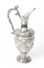 Antique Victorian Silver Cellini Claret Wine Jug Glasgow 1878 19th C