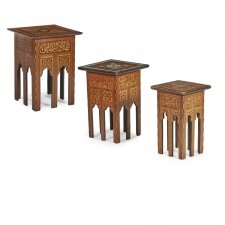 Antique Set of 3 Syrian Mother Pearl Inlaid Occasional Tables 19th C