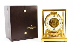 Vintage Atmos Jaeger LeCoultre Perpetual Mantle Clock Box & Papers 1979 20th C