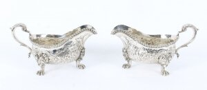 Antique Pair English Silver Sauce Boats, John & Joseph Angell 1830 19th Cent
