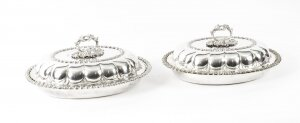 Antique Pair Old Sheffield Plated Entree Dishes Roberts, Smith & Co 19th Century