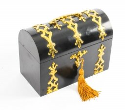 Antique Ebonised and Brass Stationary Casket Howell James & Co. 19th Century