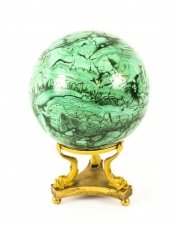 Antique Large Polished Malachite and Ormolu Sphere Circa 1860 19th Century