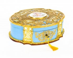 Antique French Enamel Ormolu & Mother of Pearl Jewellery Casket 19th C