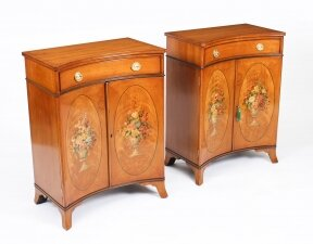 Antique Pair Adam Revival Satinwood Side Cabinets Commodes 19th C