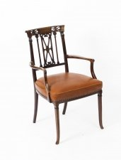 Antique Victorian Mahogany& Brass Inlaid Armchair 19th Century