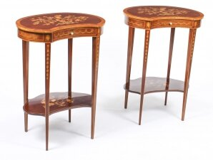 Antique Pair English Marquetry Kidney Shaped Occasionally Tables 19th C