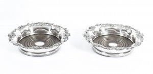 Antique Pair Old Sheffield Silver Plated Wine Coasters C1830 19th Century