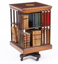 Antique Edwardian Revolving Bookcase Flame Mahogany