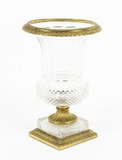 Antique French Cut Crystal Glass & Ormolu Mounted Vase c. 1890
