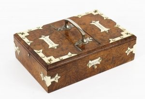 Antique Victorian Burr Walnut and Brass mounted Cigar Box 19th Century