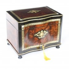 Antique Burr Walnut & Boule Serpentine Cigar Humidor