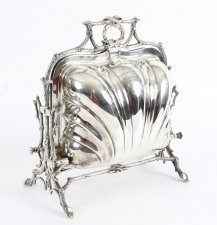 Antique Victorian Elkington & Co Silver Plated Shell Folding Biscuit Box 19thC