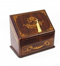 Antique Victorian Rosewood and Mahogany Writing Stationery Box C1880