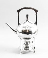 Art Nouveau Silver Plate Spirit Kettle on Stand