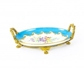 Antique Ormolu Mounted Bleu Celeste Sevres Porcelain Oval Centrepiece 19th C
