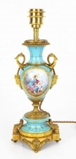 Antique Bleu Celeste Sevres Porcelain Ormolu Table Lamp