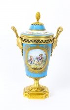 Antique French Bleu Celeste Ormolu Mounted Sevres Lidded Vase C1880
