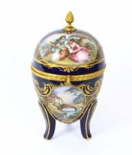 Antique Large Ovoid Ormolu Casket Sevres Porcelain Navy Blue circa 1880 19th C