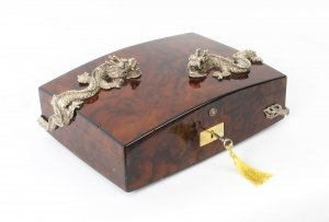 Vintage Burr Walnut Cigar Humidor by Simpson Le Queux 20th Century