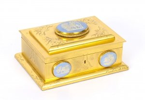 Antique Asprey London Ormolu Casket with Jasperware Plaques C1870 19th Cent
