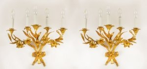 Antique Pair Louis XVI Revival Five Branch Wall Lights c1920