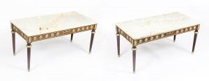 Pair of Ormolu Mounted Coffee Tables Marble Tops H&L Epstein mid century